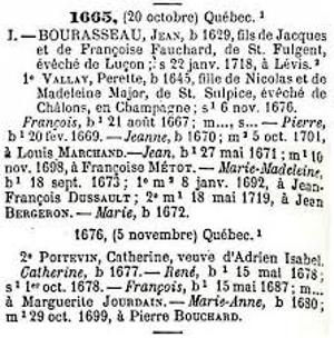 1665 census for Jean Bourassa family