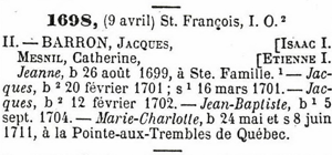 1698 census for Jacques Barron and Catherine Mesny family